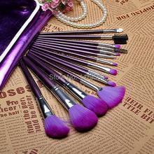 2014 HOT SALE! 16 PCS Pro  Makeup Brush Set 16pcs Make up Cosmetic Tools With Purple PU Leather case Freeshipping DJ00036