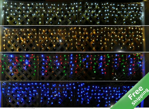 200Leds solar curtain icicle lights+Multicolor/White/Blue/Warm white for option+100% Solar powered+Rainproof+Free shipping