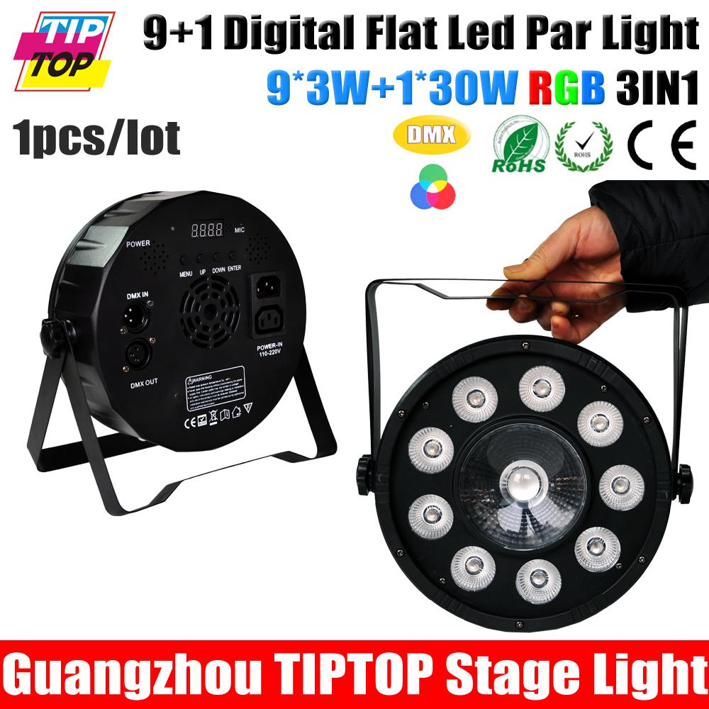 TIPTOP Stage Light Sample 9+1 Digit PAR Light RGB Plastic Slim Led Par Cans 3IN1 Color 9*3W + 1*30W DMX 6CH Light Weight 90-240V<br><br>Aliexpress