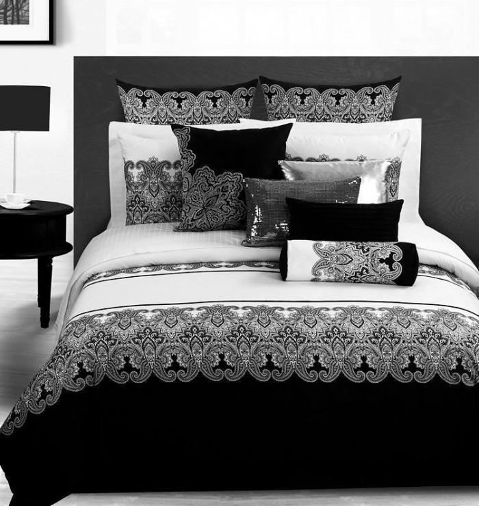 3d jahrgang schwarz wei paisley bettw sche tr ster setzt queen size tagesdecke bettdecke. Black Bedroom Furniture Sets. Home Design Ideas