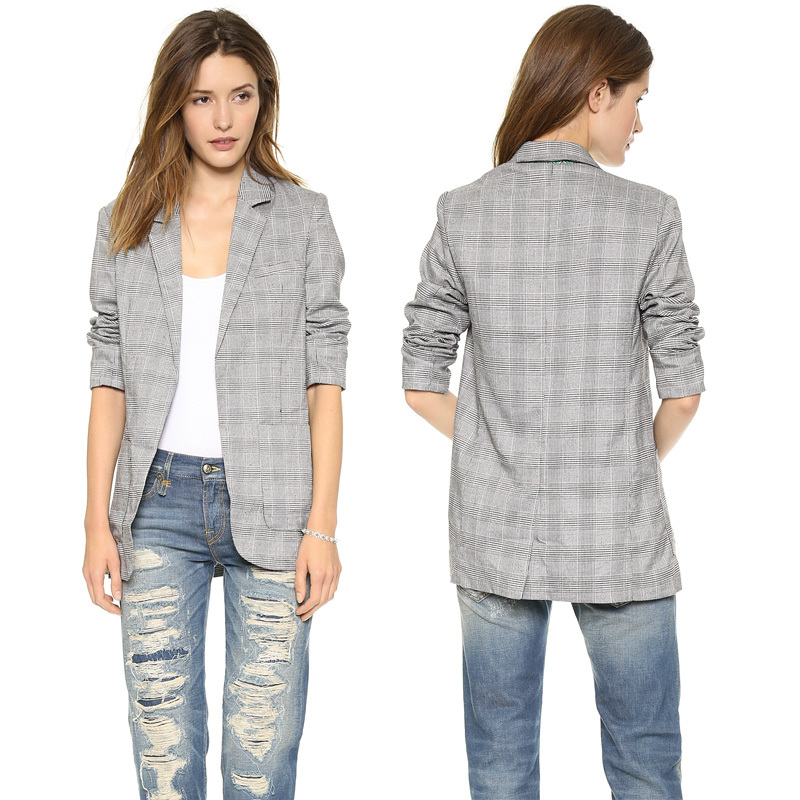 Womens Grey Blazer Jacket