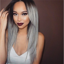 WigShow  Hot Sell New Arrival 60Cm Long Ombre Black and Grey  Natural Straight Hair Cosplay Wig+ Free wig cap(China (Mainland))