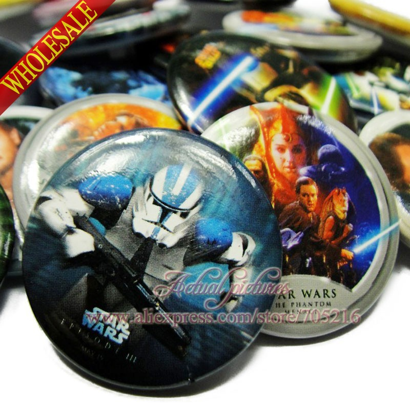 Wholesale New Fashion 90pcs Cartoon Star Wars Pin badges funny Kids' Gift 30MM,Round Brooch Badges Kids Party Favor many style(China (Mainland))