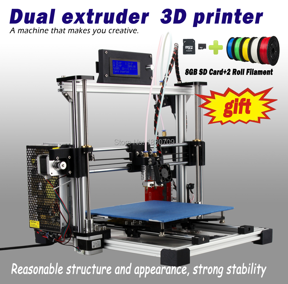 Newest Dual Extruder MK8 High Resolution 3D Printer Reprap Prusau i3 DIY kit with 8GB SD card and 2 Rolls filament for free(China (Mainland))