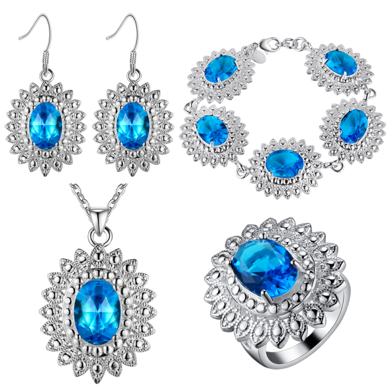 Baby Blue Sapphire 925 Sterling Silver Jewelry Sets Wedding Pendant/Necklace/Earrings/Bracelet/Ring For Women Free Bag MKPT551(China (Mainland))