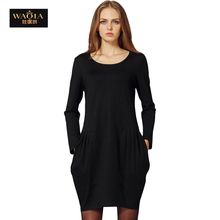 2015 New Autumn Winter Style Casual Loose Long Sleeve O-neck Mini Dress Women A-line Base Dress Vestidos Plus Size(China (Mainland))