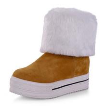 BONJOMARISA 2019 hiver grande taille 34-43 femmes plate-forme cheville bottes de neige sans lacet bottes de fourrure chaussures femme hauteur augmentant(China)