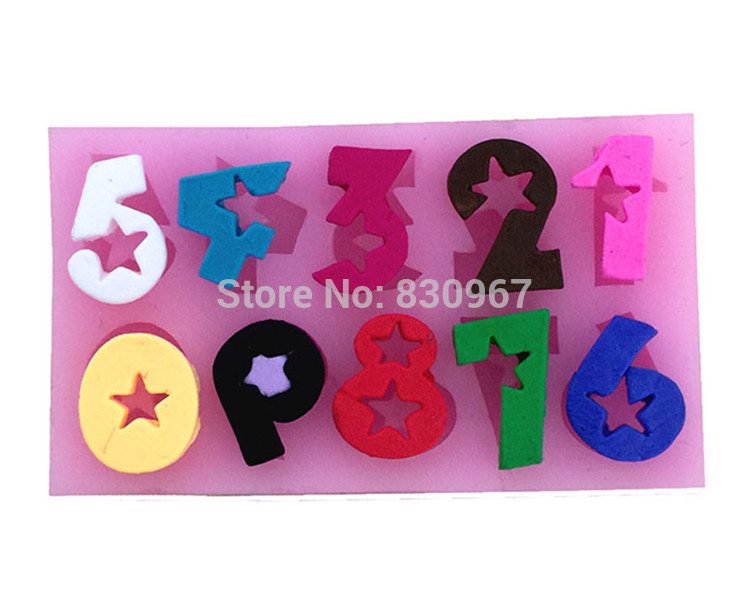 Cartoon Numbers with Star Shape Silicone Biscuit Cake Fondant Mold, Cookie Jelly Chocolate Mould, Cake Decoration Bakeware E098(China (Mainland))