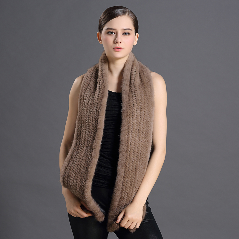 High Quality Women Natural Mink Fur Scarves Solid Knitted Real Animals Furs Collar Warmer Russian Wrap Cape Thicken Scarf(China (Mainland))
