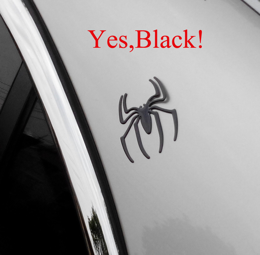 NEW Black color,Wholesale 50pairs/lot, Spider 3D Car Sticker, Chrome Badge Emblem Decal,with retail pack,free shipping(China (Mainland))
