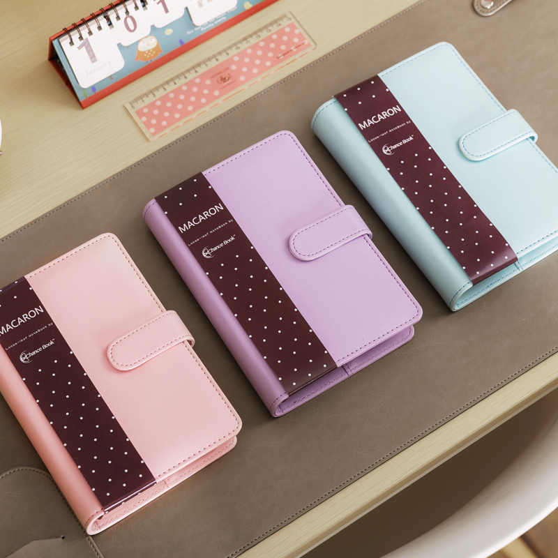 Cute Macaron Leather Spiral Notebook A5 A6 Original Office Personal Diary/Week Planner/Agenda Organizer Stationery Binder(China (Mainland))