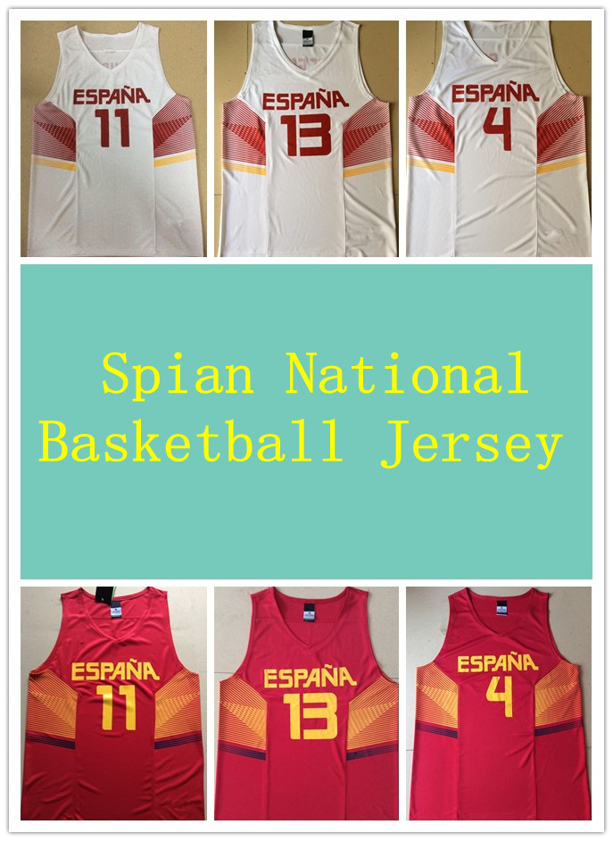Spain basketball jersey in 2015 5 # 11# 4# 13# Free shipping S-XXXL(China (Mainland))