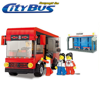 Bus legoland compatible small luban city building blocks toy