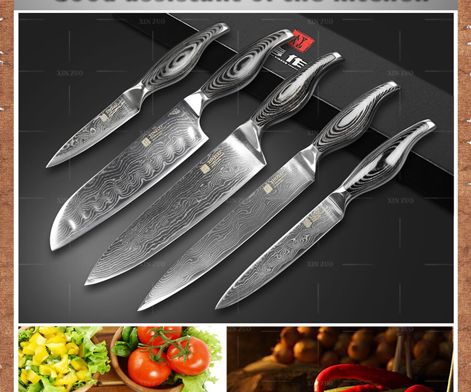Buy 5 pcs kitchen knives 73 layers Japanese VG10 Damascus steel kitchen knives set chef cleaver wood and steel  handle free shipping cheap