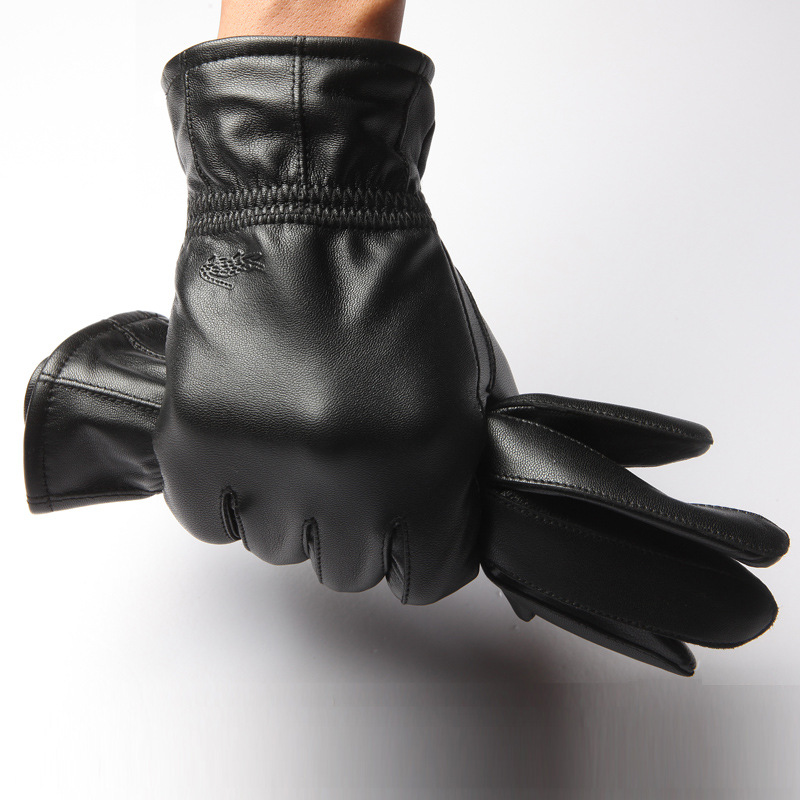 Winter Genuine Leather Gloves Men New Black Fashion Warm Driving Gloves Goatskin Mittens Adult Sheepskin Leather Gloves B-3657(China (Mainland))