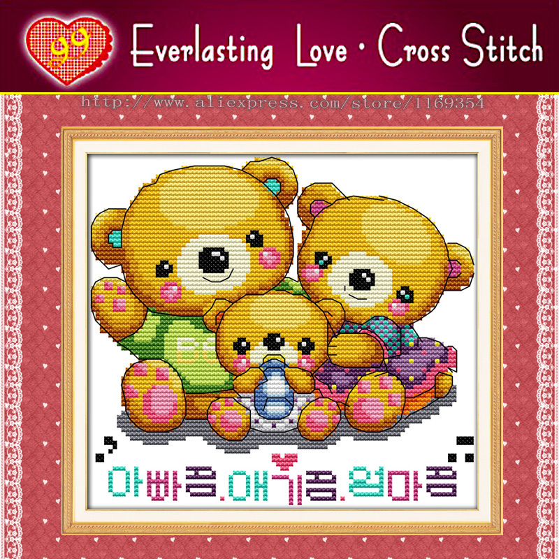 Sweet little bears baby doll painting,11CT counted printed on fabric embroidery diy dimensions Cross Stitch kits needlework Sets(China (Mainland))