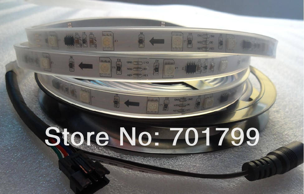5m led digital strip,DC12V input,WS2811IC(256 scale);10pcs IC and 30pcs 5050 SMD RGB each meter;waterproof in silicon tube