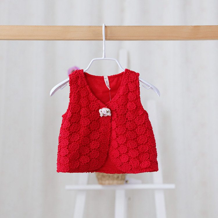 2016 New,baby girls red rose vests,children lace princess waistcoats outerwear,flower,3 colors,5 pcs/lot,,2886