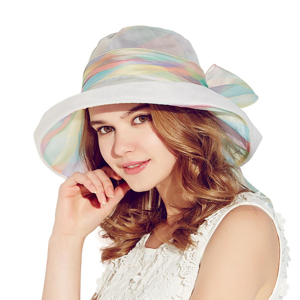 Hat Silk Kenmont Chapeu Feminino Beatiful Outdoor Beach Summer Multicolor Hats Sun WomenC-3031
