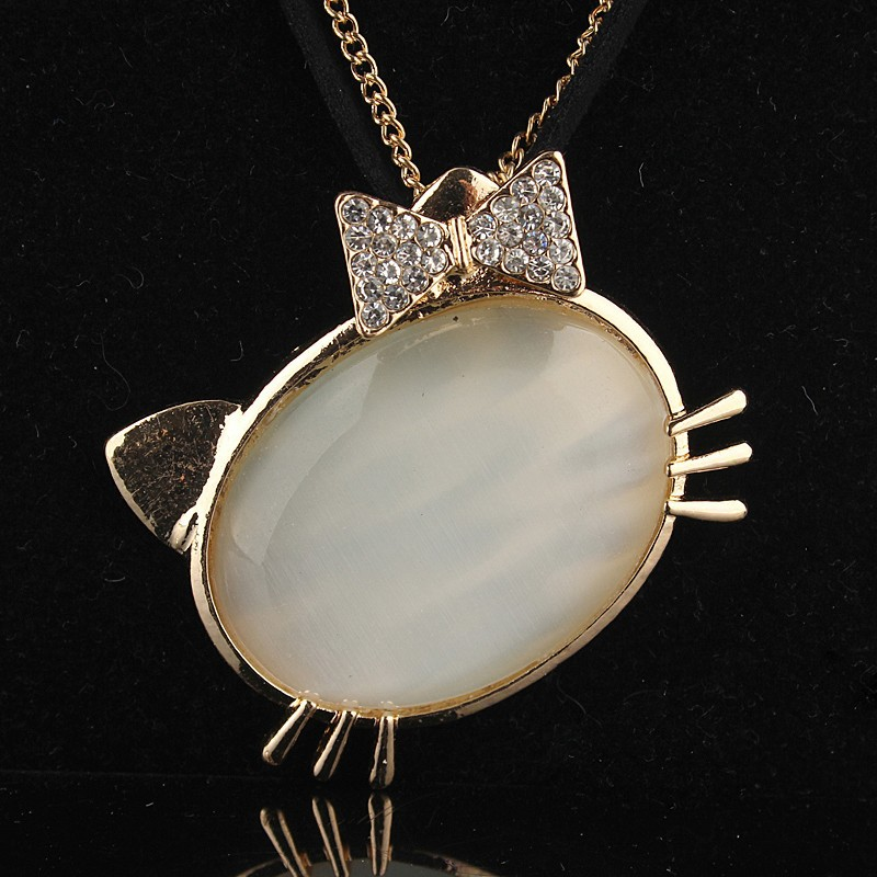 2014 White Crystal Hello Kitty And Lizard 14k Gold Filled Austrian Crystal Necklace& Pendant Fashion Jewelry Free Shipping(China (Mainland))