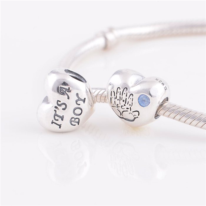 NEW S925 Sterling Silver Baby Boy Heart with Blue CZ Charm Beads Fits European Woman Jewelry Bracelets & Necklaces Pendant LW370(China (Mainland))