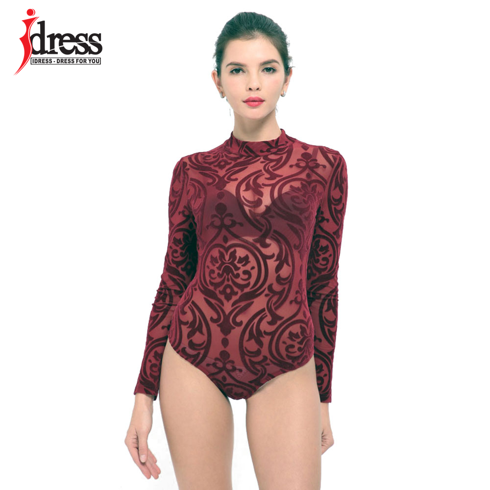 IDress 2017 New Arrival BlackBlue Red Macacao Feminino Mesh Shorts Femme Playsuit Overalls for Woman Long Sleeve Sexy Bodysuit (12)