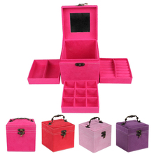 4 Colors Fashion Vintage Style Three-tier Jewelry Box Multideck Storage Cases CX69(China (Mainland))