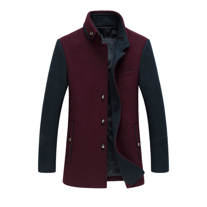 New Arrivals Stand Collar Male Pea Coat Single-Breasted Wool Mens Jackets And Coats Warm Cardigans Homme Overcoat Fashion Coat(China (Mainland))