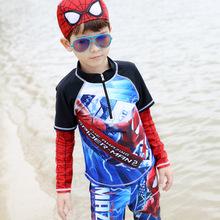Super Marvels Boys Hero Fancy Swimwear Summer Clothes Kid Long Sleeve Shirt &Elastic Boyleg Boys Shorts Pants Trunks Swimsuit