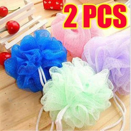 2 x Bath Shower Body Exfoliate Puff Sponge Mesh Net Bath Ball Random Color(China (Mainland))