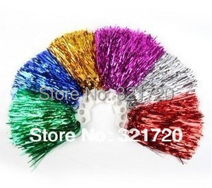 50G Cheerleader pompoms (10 pieces/lot) Cheerleading props Sports pompon supplies Color and handle can choose Free shipping(China (Mainland))