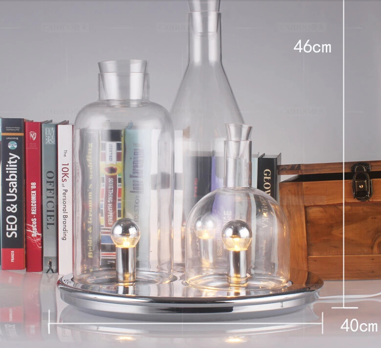 modern led table lamp 3pcs bottle table bedside lamp glass. Black Bedroom Furniture Sets. Home Design Ideas