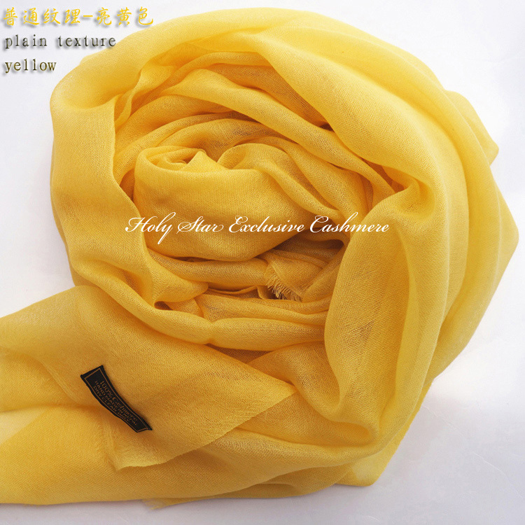 New lady shawl pure cashmere women scarf high quality natural fabric pashmina solid color yellow summer winter Free shipping(China (Mainland))