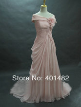 Free Shipping Real Pictures Oscar Red Carpet Fashion Classical Off Shoulder Front Slit Pink Chiffon Celebrity Dress(China (Mainland))