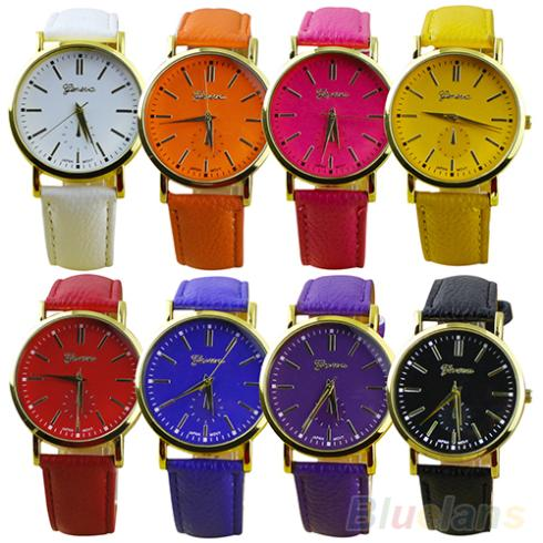 Mens Womens Geneva Roman Numerals Faux Leather Band Analog Quartz Wrist Watch  1QBM<br><br>Aliexpress