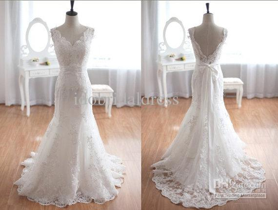 Wholesale vintage inspired tulle lace wedding dress for Vintage lace dress wedding