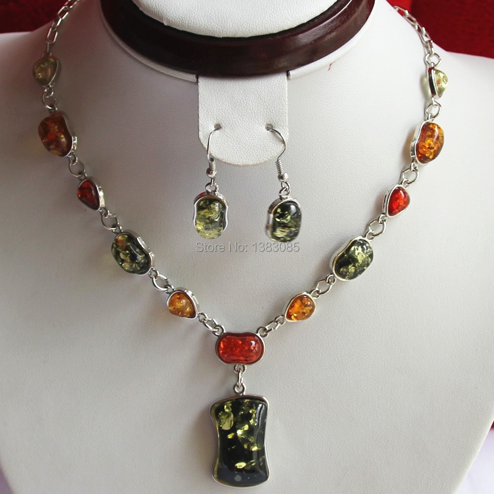 Fashion-jewelry-Amber-Necklace-and-silver-earrings-set ...