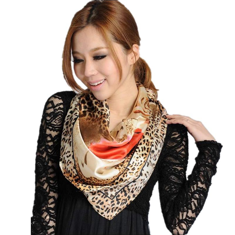 LING/HOT Sale 2015 Fall Sexy Printed Leopard Scarf,Fashionable Women Silk Satin Scarves,90*90cm Square Head Scarves,Shawls/9069(China (Mainland))