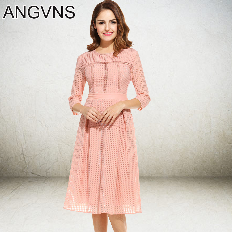 ANGVNS Flare Dresses For Women Three Quarter Elegant Knee Leangth Lady Party Dress One-piece Spring Summer Work Casual Dress(China (Mainland))