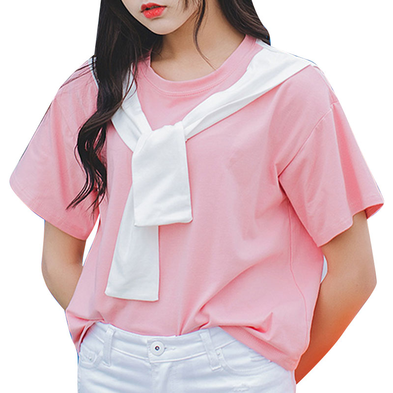 2016 summer Korean new navy seaman with embroidery Institute wind T-shirt BF Loose All-macth T Shirt Women Hot Sale Tops S-XL(China (Mainland))