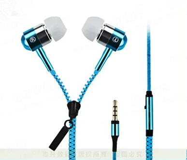 New Metal Zipper Earphone 3.5mm Wired Ear Phones With Microphone Stereo Bass Headset For Mobile Phone MP3/4(China (Mainland))