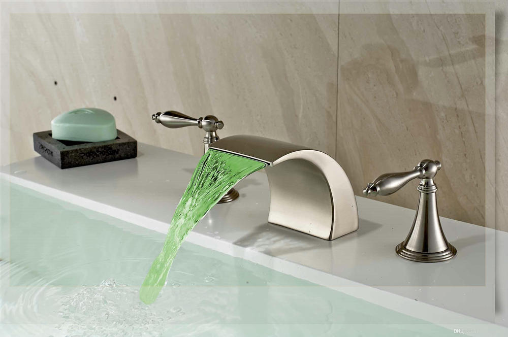 Brushed Nickel Faucet Waterfall Bathroom Spout Sink One: Deck Mounted LED Nickel Brushed Basin Faucet Waterfall
