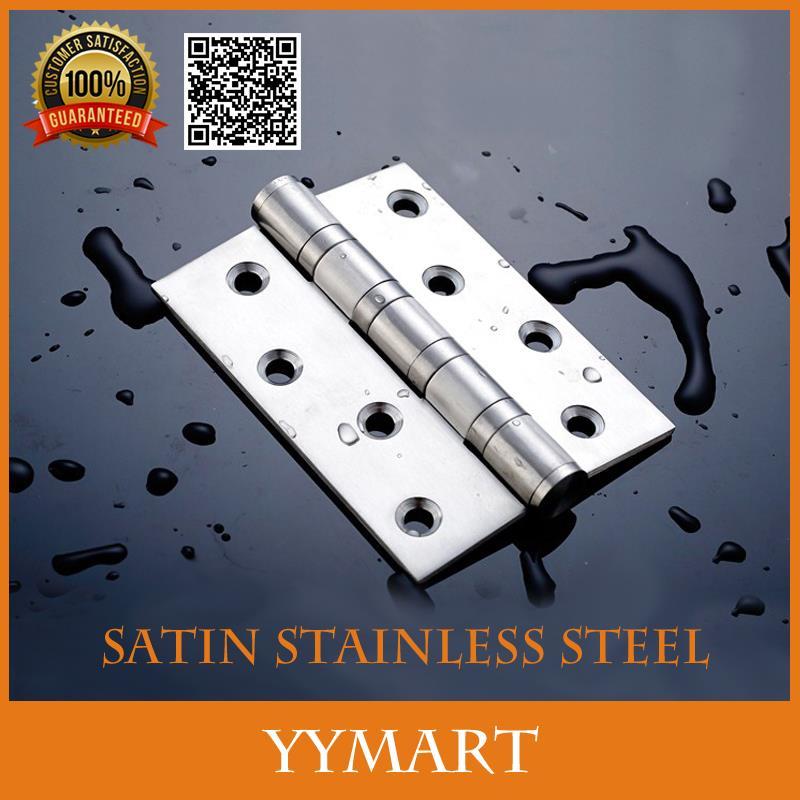 "2Pcs 4"" Satin Stainless Steel Bearing Flat Open Door Hinges Thicken Folding Sheet Slient Door Hinge(China (Mainland))"