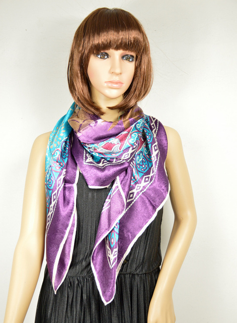 Free Shipping ! New Arrival 110*110cm Fashion Hot Sale New Style Blue Purple Satin Silk Scarf Printed,Big Square Scarf/ Wraps