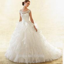 Custom Made Princess Ball Gown Scoop  Neck Ruffle Organza Wedding Dress Cap Sleeve Lace Bride Dress 2016 vestido de noiva(China (Mainland))