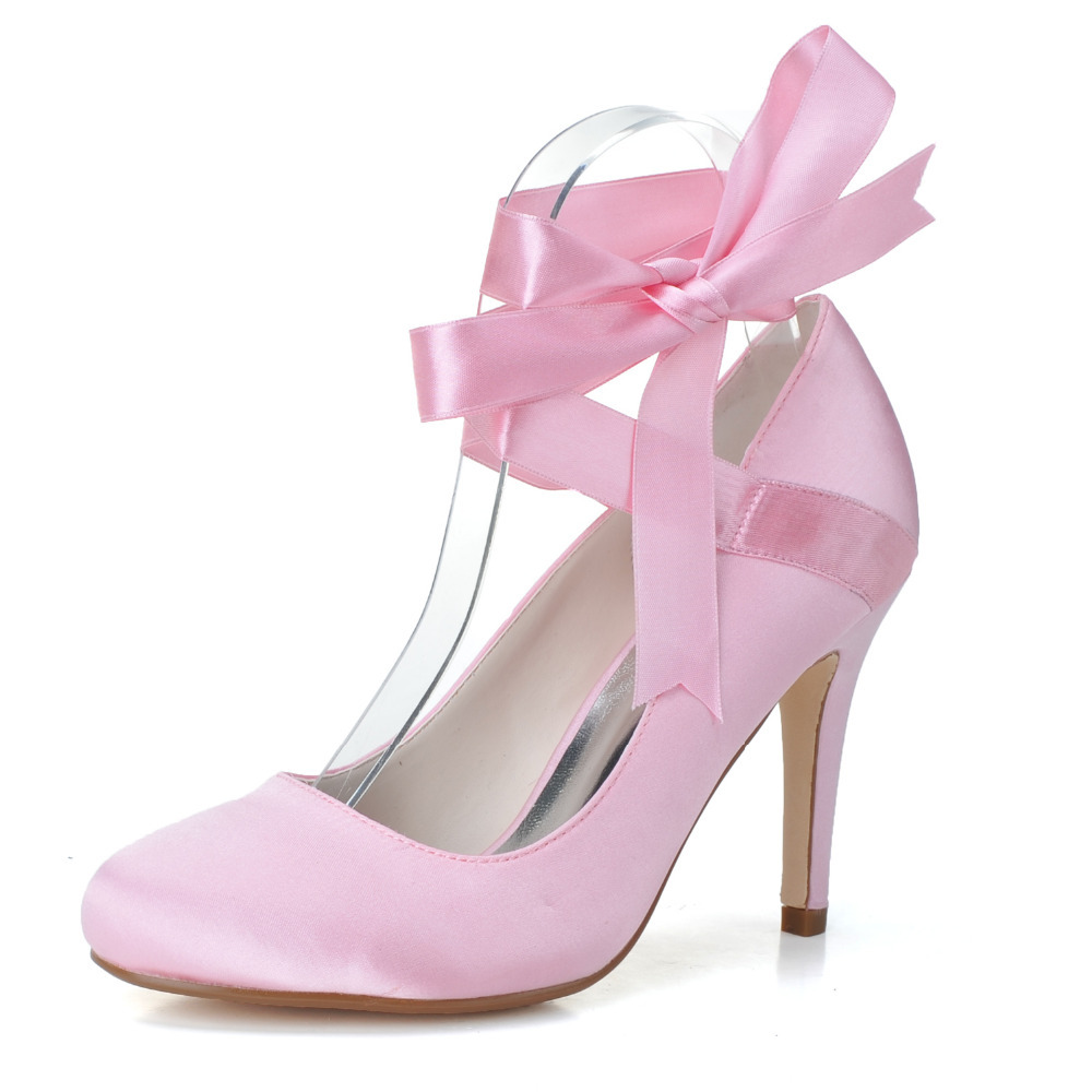 Pink Ribbon Lace up Heels Promotion-Shop for Promotional Pink