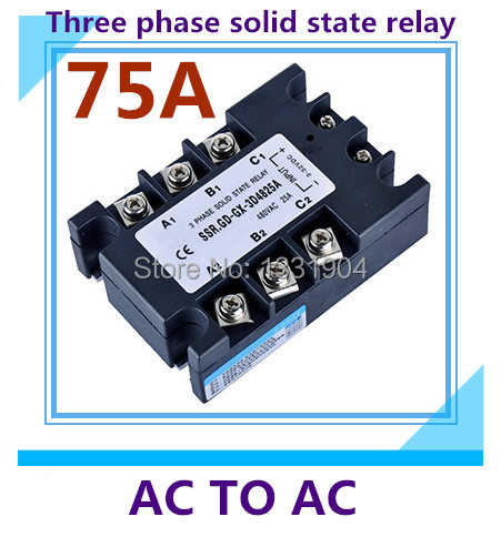 free shipping AC to AC SSR-3P-75AA 75A SSR relay input 90-280V AC output AC380V Three phase solid state relay<br><br>Aliexpress