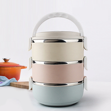 WORTHBUY Portable Stainless Steel Japanese Bento Box Gradient Color Thermos For Food With Containers Lunch Box Dinnerware Set(China (Mainland))