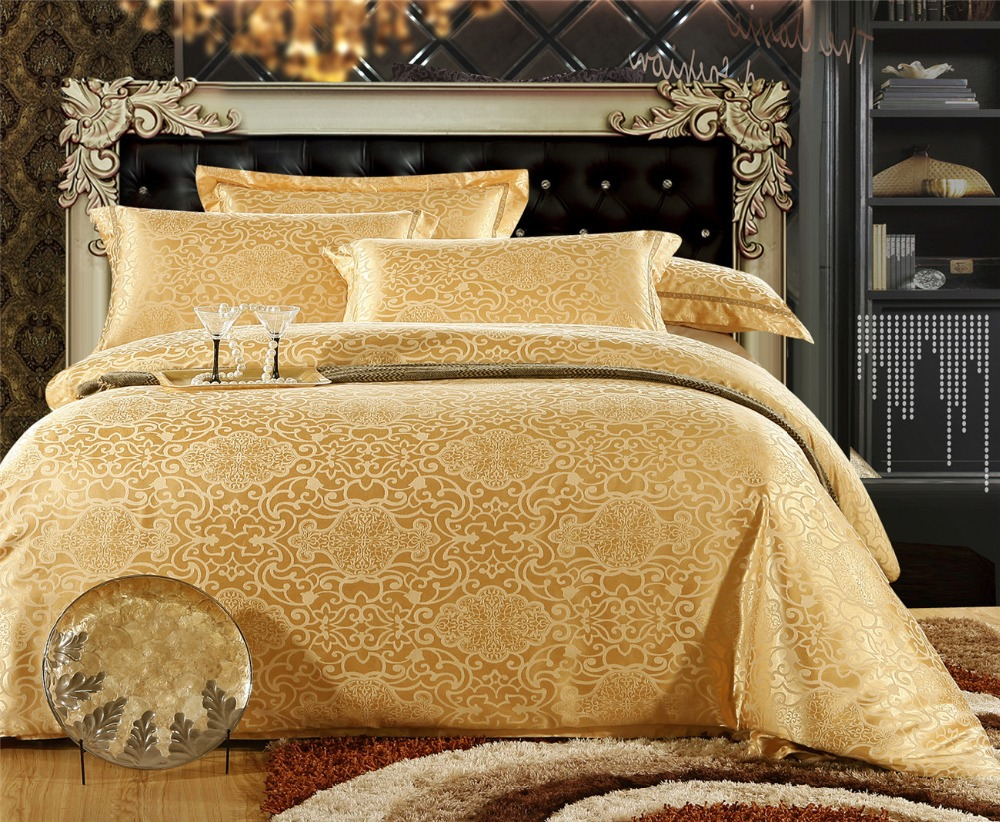 golden Pearl tencel and cotton bedding set Satin duvet comforter quilt cover flat sheet Jacquard Embroidery wedding bed set(China (Mainland))