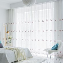 White Swan Window Screening Solid Door Curtains Drape Panel Pink Sheer Tulle For Living Room Embroidered Curtain S174&30(China)